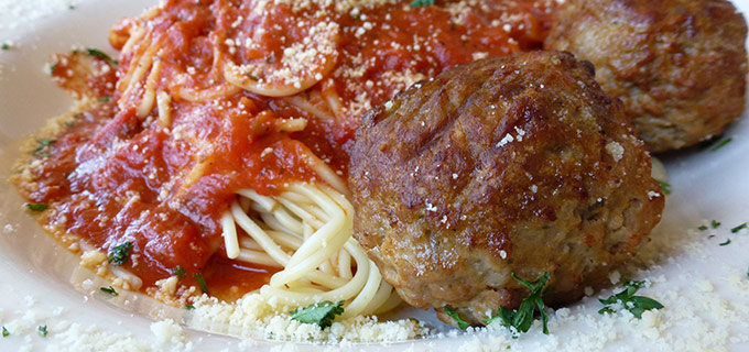 Spaghetti and Meatballs at Italian Bistro, Ranoke, TX